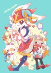absurdres blue_background bunny_focus cinderace commentary_request creature english_text flower full_body gen_8_pokemon highres holding_egg minamo_(pixiv17726065) no_humans pokemon pokemon_(creature) rabbit raboot ribbon scorbunny simple_background striped striped_ribbon
