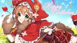 1girl :p animal_ears animal_hood blue_sky braid brown_gloves brown_hair capelet confetti day fake_animal_ears food food_on_face fork fruit gloves green_eyes happy_birthday holding holding_fork hood hood_up hooded_capelet leg_up long_hair looking_at_viewer lying nijisanji on_stomach outdoors paw_gloves paws plaid plaid_skirt red_capelet red_footwear red_skirt shoes skirt sky solo strawberry tail thigh-highs tongue tongue_out virtual_youtuber warabeda_meijii white_legwear yamabukiiro