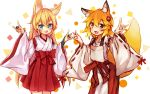 2girls animal_ear_fluff animal_ears arm_up blonde_hair blue_eyes character_request commentary_request copyright_request crossover double_fox_shadow_puppet fang fox_ears fox_shadow_puppet fox_tail hair_ornament hakama hakama_skirt hand_gesture japanese_clothes kida_kuro_mu long_hair miko multiple_girls open_mouth shadow_puppet shirt short_hair smile tail white_shirt yellow_eyes