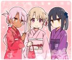 3girls :3 black_hair blonde_hair chloe_von_einzbern commentary_request dark_skin eyebrows_visible_through_hair fate/kaleid_liner_prisma_illya fate_(series) floral_print folded_ponytail hair_bun hair_ornament hair_up hairclip hand_on_another's_shoulder illyasviel_von_einzbern japanese_clothes kimono long_sleeves looking_at_viewer miyu_edelfelt multiple_girls obi orange_eyes outline pink_background pink_hair pink_kimono ponytail print_kimono purple_kimono red_eyes red_kimono sash side_bun simple_background smile translation_request white_outline wide_sleeves yellow_eyes yoru_nai