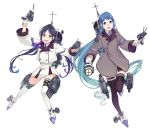 2girls adapted_turret alternate_costume bangs black_legwear blazer blue_eyes blue_hair blue_neckwear cannon coat collared_shirt commentary_request full_body gloves gradient_hair green_eyes grey_coat highres jacket kantai_collection long_hair looking_at_viewer low_twintails machinery multicolored_hair multiple_girls neckerchief necktie original_remodel_(kantai_collection) pleated_skirt ribbon samidare_(kantai_collection) school_uniform searchlight shirt simple_background skirt smile smokestack suzukaze_(kantai_collection) swept_bangs thigh-highs torpedo_launcher transparent_background turret twintails uyama_hajime very_long_hair white_background white_gloves white_jacket white_legwear white_skirt