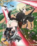 artist_request bangs blonde_hair blush erica_hartmann green_panties holding holding_weapon neuroi official_art open_mouth panties short_hair solo strike_witches striker_unit underwear war weapon world_witches_series