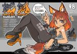1girl animal_ears bangs black_legwear black_leotard blue_eyes ear_piercing earrings english_text extra_ears eyebrows_visible_through_hair fox_ears fox_shadow_puppet fox_tail high_heels jewelry leotard looking_at_viewer lying nail_polish nancou_(nankou) on_back orange_hair original pantyhose piercing playboy_bunny_leotard short_hair smile strapless strapless_leotard tail tattoo wrist_cuffs