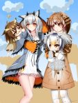 4girls animal_ears arknights bangs brown_coat brown_eyes brown_hair chinese_commentary clouds coat commentary_request crossover dress drone eeo.gopiy eurasian_eagle_owl_(kemono_friends) eyebrows_visible_through_hair glasses grey_coat head_wings highres kemono_friends multiple_girls northern_white-faced_owl_(kemono_friends) pantyhose pocket ptilopsis_(arknights) short_hair signature silence_(arknights) silver_hair sky trait_connection white_dress white_legwear