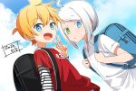 2boys bag blonde_hair blue_eyes clouds cloudy_sky commentary dated expressionless green_eyes hand_up heterochromia holding_strap kagamine_len looking_at_viewer male_focus minahoshi_taichi multiple_boys open_mouth red_shirt school_bag shirt sky smile spiky_hair striped_sleeves upper_body utatane_piko vocaloid w white_hair white_shirt