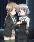 2girls black_legwear blue_eyes blush braid braided_ponytail breasts brown_hair eyebrows_visible_through_hair green_eyes long_hair lynette_bishop military military_uniform miniskirt multiple_girls necktie official_art pantyhose ponytail sanya_v_litvyak shiny shiny_hair shiny_skin short_hair skirt smile strike_witches thigh-highs uniform white_hair world_witches_series yuri