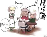 3girls alternate_costume bangs blonde_hair blue_eyes blunt_bangs capelet chair dress enmaided flower german_text graf_zeppelin_(kantai_collection) green_dress hair_flower hair_ornament hat highres hitokoe kantai_collection long_hair maid maid_headress military military_uniform multiple_girls peaked_cap ro-500_(kantai_collection) shin'you_(kantai_collection) sidelocks sitting speech_bubble table tan twintails uniform