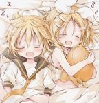 1boy 1girl absurdres bangs bare_shoulders black_collar blonde_hair bow closed_eyes collar crop_top fang hair_bow hair_ornament hairclip highres hitode holding_stuffed_toy kagamine_len kagamine_rin lying midriff navel neckerchief necktie on_back open_mouth pillow sailor_collar saliva school_uniform scratching_stomach shirt short_hair short_sleeves sleeping spiky_hair swept_bangs upper_body vocaloid white_bow white_shirt yellow_neckwear zzz