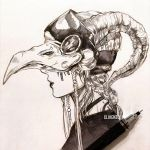1girl animal_skull artist_name black_lipstick braid clivenzu commentary curled_horns english_commentary from_side graphite_(medium) greyscale highres horns lipstick makeup mechanical_pencil medium_hair mixed_media monochrome original parted_lips pencil photo plague_doctor_mask profile solo traditional_media twitter_username