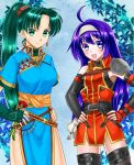 2girls 74 ahoge armor asakawa_yuu blue_eyes blue_hair blush cute ear_piercing fire_emblem fire_emblem:_path_of_radiance fire_emblem:_rekka_no_ken fire_emblem:_souen_no_kiseki fire_emblem:_the_blazing_blade fire_emblem_7 fire_emblem_9 fire_emblem_blazing_sword green_eyes green_hair hairband intelligent_systems lani_minella large_breasts long_hair looking_at_viewer lyn_(fire_emblem) lyndis_(fire_emblem) mia_(fire_emblem) nintendo ohmoto_makiko pelvic_curtain ponytail seiyuu_connection seiyuu_difference super_smash_bros. voice_actress_connection wayu_(fire_emblem) white_hairband