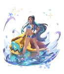 1girl armlet bare_shoulders belly_chain black_hair blue_eyes blue_eyeshadow blue_hair breasts collarbone dark_skin drednaw earrings eyeliner eyeshadow forehead full_body gen_8_pokemon gloves gym_leader hair_bun hand_on_hip highres hoop_earrings jewelry long_hair looking_at_viewer makeup multicolored_hair navel necklace odd_(hin_yari) open_mouth pendant pokemon pokemon_(game) pokemon_swsh rurina_(pokemon) sandals single_glove small_breasts smile sportswear swimsuit tankini two-tone_hair white_background