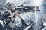 1girl absurdres animal_ear_fluff animal_ears arknights bangs bare_arms bare_shoulders belt black_belt black_footwear black_gloves black_shorts boots bow_(weapon) breasts cat_ears cat_tail chinese_commentary commentary_request crop_top crossbow fingerless_gloves gloves hair_between_eyes highres holding holding_bow_(weapon) holding_weapon long_hair medium_breasts midriff one_knee pouch schwarz_(arknights) short_shorts shorts shuaijiaodegentou silver_hair single_glove sleeveless solo stomach tail thigh-highs thighs weapon yellow_eyes