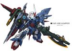 axe chibi crossover gun gundam gundam_0080 gundam_seed kampfer_(mobile_suit) mecha mechanical_wings missile_pod no_humans perfect_strike_gundam solo strike_gundam takamaru_(taka1220) visor weapon white_background wings zeon