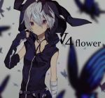 1girl arm_warmers bandaged_arm bandages belt blue_butterfly blurry blurry_background blurry_foreground bug butterfly character_name depth_of_field expressionless finger_to_cheek flower_(vocaloid) hand_up hood hooded_jacket insect jacket looking_at_viewer miwasiba multicolored_hair purple_hair purple_jacket short_hair sleeveless sleeveless_jacket solo streaked_hair upper_body v_flower_(vocaloid4) violet_eyes vocaloid white_hair