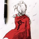 1boy ahoge artist_name braid clivenzu coat commentary edward_elric english_commentary facing_viewer fingernails floating_hair from_behind fullmetal_alchemist graphite_(medium) hair_intakes highres long_hair long_sleeves mechanical_pencil mixed_media pencil photo red_coat solo traditional_media twitter_username