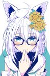 1girl ahoge animal_ear_fluff animal_ears aqua_background aqua_eyes black-framed_eyewear blush braid closed_mouth commentary detached_sleeves earrings eyebrows_visible_through_hair flower fox_ears glasses hair_between_eyes hair_flower hair_ornament hand_to_own_mouth hololive jewelry long_hair looking_at_viewer senhaku shirakami_fubuki side_braid simple_background smile solo sunflower two-tone_background upper_body virtual_youtuber white_background white_hair white_hoodie
