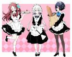 3girls apron bag baguette blue_hair bow bread cake coffee_cup cup da_huang disposable_cup duster food gloves grocery_bag konno_junko maid maid_apron maid_headdress minamoto_sakura mizuno_ai multiple_girls one_eye_closed polka_dot polka_dot_bow redhead shopping_bag silver_hair thigh-highs tray twintails white_gloves zombie_land_saga