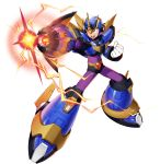 1boy armor electricity energy green_eyes helmet highres mechanical_wings official_art open_mouth pointing_weapon rockman_x_dive transparent weapon wings x_(rockman)