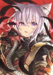 1girl animal_ears apex_legends bloodhound_(apex_legends) cat_ears commentary cosplay feathers gloves hair_between_eyes highres hololive ks looking_at_viewer mask mouth_mask nekomata_okayu open_mouth portrait purple_hair red_background short_hair solo violet_eyes virtual_youtuber