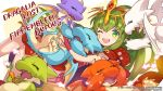 1girl carrot company_name copyright_name dragalia_lost dragon fire_emblem fire_emblem:_mystery_of_the_emblem fire_emblem_heroes green_eyes green_hair holding long_hair official_art one_eye_closed open_mouth pointy_ears tiara tiki_(fire_emblem)