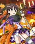 1girl artist_request bangs blush bow brown_hair candle chandelier from_behind garter_straps gertrud_barkhorn holding jack-o'-lantern juliet_sleeves legs_apart light long_sleeves official_art open_mouth orange_bow orange_ribbon panties puffy_sleeves ribbon short_hair short_sleeves solo strike_witches striped striped_legwear thigh-highs underwear white_panties world_witches_series wrist_ribbon