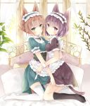 2girls absurdres animal_ears apron bangs black_bow black_legwear blush bow breast_press breasts brown_eyes cat_ears cat_girl cat_tail closed_mouth day double_bun dress eyebrows_visible_through_hair frilled_apron frills green_dress green_eyes hair_between_eyes highres indoors kneehighs looking_at_viewer medium_breasts mouth_hold multiple_girls no_shoes original pillow puffy_short_sleeves puffy_sleeves purple_dress purple_hair short_sleeves soles sunlight symmetrical_docking tail thigh-highs tsukiyo_(skymint) violet_eyes waist_apron white_apron white_legwear window wrist_cuffs yuri