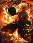 1boy bakugou_katsuki bare_shoulders black_footwear black_pants black_shirt blonde_hair boku_no_hero_academia boots commentary_request explosion full_body gloves green_gloves highres kosumi looking_at_viewer lower_teeth male_focus open_mouth pants red_eyes shaded_face shirt signature sleeveless sleeveless_shirt solo spiky_hair spread_legs upper_teeth v-shaped_eyebrows