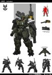 1boy armor cigar dark_skin full_armor full_body gatling_gun gun halo_(game) halo_wars hat highres holding holding_gun holding_weapon mecha minigun missile missile_pod power_armor power_suit rocket_launcher science_fiction sergeant_johnson smoke smoking solo sttheo weapon