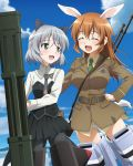 2girls animal_ears black_legwear blush breasts brown_hair cat_ears charlotte_e_yeager closed_eyes clouds eyebrows_visible_through_hair fliegerhammer green_eyes large_breasts long_hair military military_uniform multiple_girls official_art panties pantyhose rabbit_ears sanya_v_litvyak shiny shiny_hair short_hair sky small_breasts smile strike_witches striker_unit underwear uniform weapon white_hair white_panties world_witches_series yuri