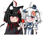 2girls ahoge animal_ear_fluff animal_ears bailingxiao_jiu bat_hair_ornament black_dress black_hair black_headwear black_jacket blue_bow blue_flower blue_rose blush bow braid dress dress_shirt eyepatch flower flying_sweatdrops fox_ears fox_hair_ornament hair_bow hair_ornament hat hat_flower heart heart-shaped_pupils jacket long_sleeves medical_eyepatch mini_hat mini_top_hat multicolored_hair multiple_girls one_side_up original pointy_ears puffy_long_sleeves puffy_sleeves red_eyes redhead rose shirt short_hair short_sleeves silver_hair simple_background sleeveless sleeveless_dress sleeves_past_wrists streaked_hair sweat symbol-shaped_pupils top_hat upper_body white_background white_shirt