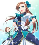 2girls :d \o/ ^_^ aqua_eyes arms_up ascot asymmetrical_hair blue_background blue_neckwear blue_ribbon bracelet breasts brooch brown_hair clenched_hands closed_eyes commentary dual_persona earrings forehead_scar gloves gradient gradient_background hair_ribbon hand_on_hip highres jewelry kakiko210 katarina_claes long_hair medium_breasts multiple_girls open_mouth otome_game_no_hametsu_flag_shika_nai_akuyaku_reijou_ni_tensei_shite_shimatta outstretched_arms ribbon short_hair short_sleeves simple_background smile sparkle time_paradox very_long_hair white_background white_gloves