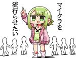 1girl :d arm_up bangs bare_shoulders blush camisole eyebrows_visible_through_hair green_camisole green_eyes green_hair hair_between_eyes jacket kanikama long_hair long_sleeves lowres morinaka_kazaki nijisanji no_shoes off_shoulder open_clothes open_jacket open_mouth pink_jacket pink_shorts pointing pointing_up polka_dot polka_dot_camisole short_shorts shorts sidelocks sleeves_past_wrists smile socks solo_focus standing striped striped_legwear translation_request virtual_youtuber white_background