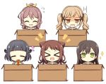 >_< 5girls :d =_= ^_^ bang_dream! bangs black_hair blonde_hair blunt_bangs blush_stickers box brown_dress brown_hair cardboard_box chocolate_cornet closed_eyes commentary_request dress eyebrows_visible_through_hair flying_sweatdrops food green_eyes hair_between_eyes hair_flaps hair_ornament hair_ribbon hanasakigawa_school_uniform hanazono_tae heart highres holding holding_food ichigaya_arisa in_box in_container long_hair long_sleeves looking_at_viewer multiple_girls notice_lines open_mouth ponytail poppin'party ribbon sailor_collar sailor_dress school_uniform short_hair sidelocks simple_background smile sparkle star star_hair_ornament sweatdrop teen_(teen629) toyama_kasumi twintails upper_body ushigome_rimi v wavy_mouth white_background white_sailor_collar x_hair_ornament xd yamabuki_saaya yellow_eyes yellow_ribbon