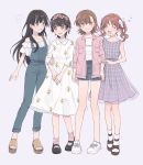 4girls :d ankle_socks arms_at_sides asymmetrical_bangs bangs black_hair blue_legwear blue_overalls blue_shorts blunt_bangs blush bob_cut bow brown_eyes brown_footwear brown_hair casual closed_eyes collarbone commentary dress flower frilled_shirt frills grey_dress grin hair_bow hair_flower hair_ornament hand_on_another's_arm hands_together head_wreath heart holding_arm long_hair looking_at_another misaka_mikoto multiple_girls no_socks off-shoulder_shirt off_shoulder open_clothes open_mouth open_shirt overalls overshirt pink_flower pink_legwear pink_shirt pocket purple_background ribbon sandals saten_ruiko shirai_kuroko shirt shoes short_hair short_twintails shorts side-by-side simple_background smile socks t-shirt to_aru_kagaku_no_railgun to_aru_majutsu_no_index twintails uiharu_kazari white_bow white_dress white_flower white_footwear white_legwear white_ribbon white_shirt zarutsu