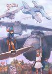 absurdres aircraft airship armor auzenismo blonde_hair breasts brown_hair cape crown dress gloves hat highres kaze_no_tani_no_nausicaa kurotowa kushana multiple_boys multiple_girls nausicaa open_mouth short_hair sword weapon