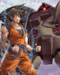 1boy amania_orz black_eyes black_hair clenched_hands clouds cloudy_sky crossover dated dragon_ball dragon_ball_z from_side gogg gundam highres lightning looking_down mecha mobile_suit_gundam muscle one-eyed red_eyes saiyan sky son_gokuu twitter_username zeon
