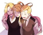 1girl 2boys :d ^_^ alphonse_elric blonde_hair blush brothers brown_neckwear buttons cheek-to-cheek closed_eyes collared_shirt dress_shirt edward_elric eyebrows_visible_through_hair fingernails floating_hair fullmetal_alchemist furrowed_eyebrows hand_on_another's_hand hand_on_another's_shoulder hand_up happy high_ponytail hug hug_from_behind long_sleeves maico_(pmicimp) multiple_boys necktie open_mouth ponytail shaded_face shadow shiny shiny_hair shirt siblings simple_background smile straight_hair teeth tongue upper_body vest white_background white_shirt winry_rockbell