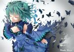 1girl bug butterfly character_name closed_eyes detached_sleeves dissolving_clothes double_bun dress earrings frilled_dress frills gradient_hair green_hair hair_ornament hair_ribbon hololive insect jewelry matutoki_nara05 multicolored_hair ribbon skull_earrings skull_hair_ornament solo uruha_rushia virtual_youtuber