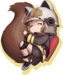 1girl animal_ears_helmet arknights brown_hair chibi commentary_request fire_helmet fire_jacket firefighter highres knee_pads large_tail okitanation oxygen_tank shaw_(arknights) short_hair shorts sleeping solo squirrel_girl squirrel_tail tail white_background