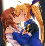 2girls age_gap blonde_hair blush breasts brown_hair closed_eyes collared_shirt couple hand_on_another's_shoulder highres jacket kiss large_breasts long_hair lyrical_nanoha mahou_shoujo_lyrical_nanoha mahou_shoujo_lyrical_nanoha_vivid military military_uniform multiple_girls older san-pon shirt side_ponytail simple_background sweat track_jacket track_suit uniform vivid_strike! vivio yagami_hayate yuri