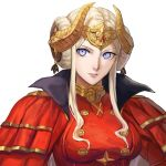 1girl aizumi240326 edelgard_von_hresvelg fire_emblem fire_emblem:_three_houses headpiece horns parted_lips simple_background solo upper_body violet_eyes white_background white_hair