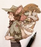 1girl animal_ears artist_name backpack bag black_pants blush brown_eyes brown_hair clivenzu commentary english_commentary from_side graphite_(medium) green_headwear green_jacket hat highres jacket long_hair long_sleeves mechanical_pencil mixed_media mouse_ears mouse_girl mushroom original pants pencil photo smile solo standing traditional_media whisker_markings