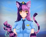 1girl animal_ear_fluff animal_ears bangs blue_neckwear blue_shirt blush breast_pocket cat_ears cat_tail cheshire_cat_(monster_girl_encyclopedia) claws commentary cuffs eyebrows_visible_through_hair eyes_visible_through_hair facial_mark frown fur hair_between_eyes hand_up handcuffs hat highres long_hair looking_at_viewer monster_girl_encyclopedia mouth_hold multicolored_hair necktie orange_eyes outline paws pink_hair pocket police_hat purple_hair shirt short_sleeves solo star symbol_commentary tail two-tone_hair upper_body white_outline wlper