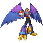 1boy animal armor beak bird boss claws eagle forehead_jewel highres official_art purple_armor rockman_x_dive shoulder_armor storm_eagleed weapon wings