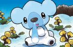 :d bear blue_sky commentary creature cubchoo day english_commentary eo_kanako flower full_body gen_5_pokemon looking_at_viewer multiple_sources no_humans official_art open_mouth outdoors pokemon pokemon_(creature) pokemon_trading_card_game sitting sky smile snow solo third-party_source