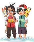 2boys absurdres baseball_cap black_pants blue_eyes brown_eyes dark_skin dark_skinned_male gen_1_pokemon gen_8_pokemon gou_(pokemon) hair_ornament hairclip hand_on_another's_shoulder hand_on_own_chin hat highres multiple_boys nico_o0 open_mouth pants partially_submerged pikachu pokemon pokemon_(anime) pokemon_(creature) pokemon_swsh_(anime) satoshi_(pokemon) scorbunny spiky_hair water white_background