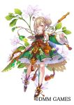 1girl ahoge bare_legs braid brown_hair closed_mouth company_name dress flower flower_knight_girl frills full_body green_dress green_sleeves hair_bun holding holding_spear holding_weapon leaf long_hair looking_at_viewer mataichi_mataro object_namesake official_art pakuchi_(flower_knight_girl) polearm shoes simple_background smile solo spear standing weapon white_background yellow_eyes