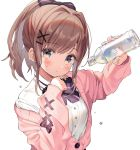 1girl blue_eyes blue_nails blush bottle bow bowtie breasts brown_hair commentary droplet eyebrows_visible_through_hair eyelashes hair_ribbon hand_on_own_chin highres kanda_done looking_at_viewer medium_breasts medium_hair nail_polish nijisanji off_shoulder open_mouth pink_sweater ponytail purple_bow purple_neckwear ribbon shirt simple_background sleeves_past_wrists solo suzuhara_lulu sweater upper_body virtual_youtuber water_bottle white_background white_shirt