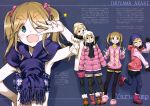 >_< 1girl absurdres beanie black_gloves blonde_hair blue_bra blue_scarf bra character_name copyright_name double_v flat_chest full_body gloves hat highres inuyama_akari kurashima_tomoyasu long_sleeves looking_at_viewer one_eye_closed pantyhose pink_sweater scarf short_hair solo standing sweater translation_request twintails underwear v white_headwear yellow_headwear yurucamp