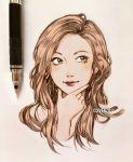 1girl brown_eyes brown_hair clivenzu closed_mouth commentary english_commentary fingernails graphite_(medium) hand_on_own_chin highres lipstick long_hair looking_to_the_side makeup mechanical_pencil mixed_media original pencil photo portrait red_lipstick smile solo traditional_media twitter_username